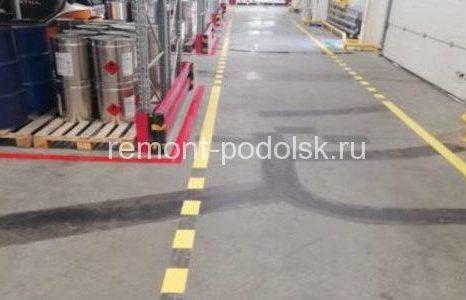 Разметка пола на складе г. Домодедово